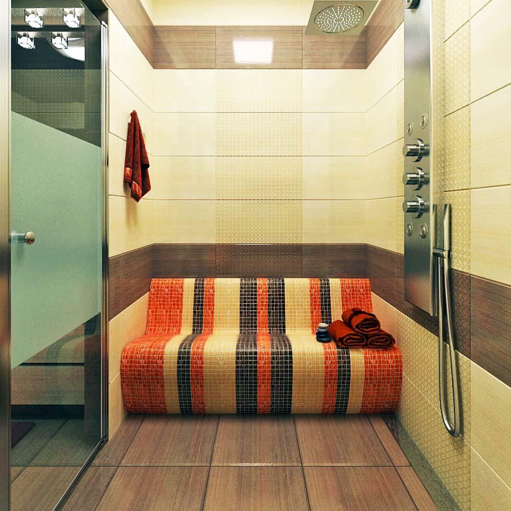 Мозаичная плитка на каменной скамье в ванной турецкого стиля