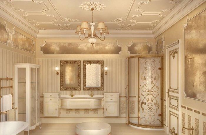 Душевая кабина в классической ванной.