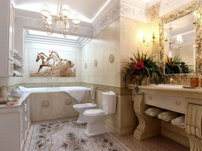 Бежевая ванная классическая.