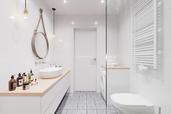 Светлая мебель в ванной.