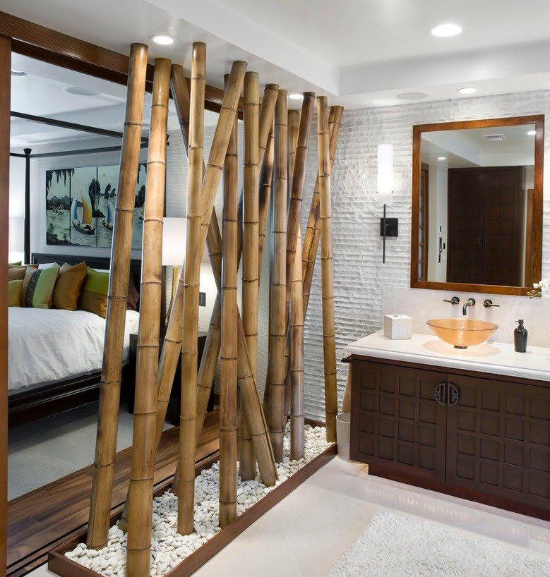 Толстый бамбук в декоре ванной в японском стиле