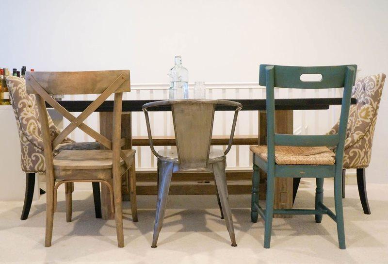 Обеденная группа со стульями в ретро стиле