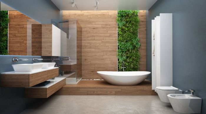 Ванная комната в сером цвете.