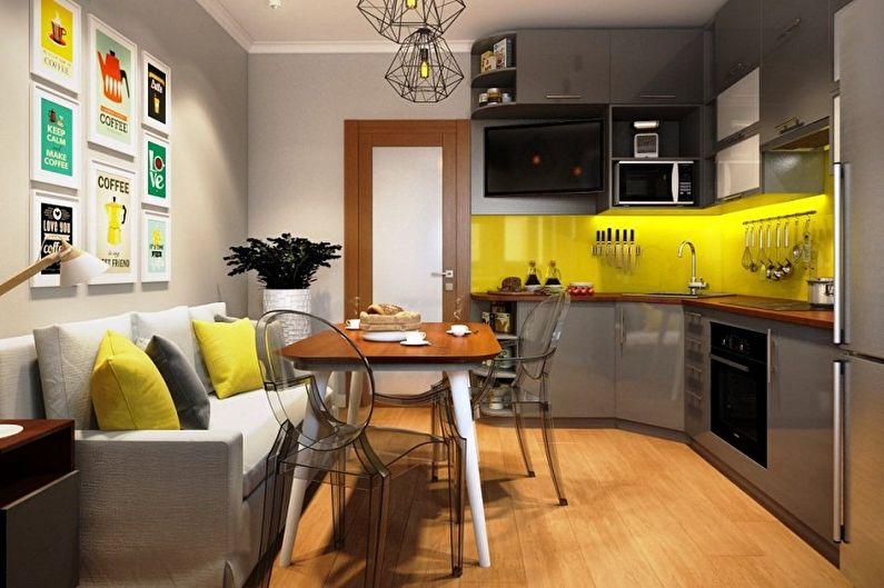 Яркий желтый фартук в угловой кухне