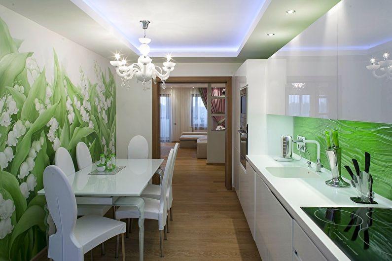 Зеленый цвет в интерьере кухни линейной планировки