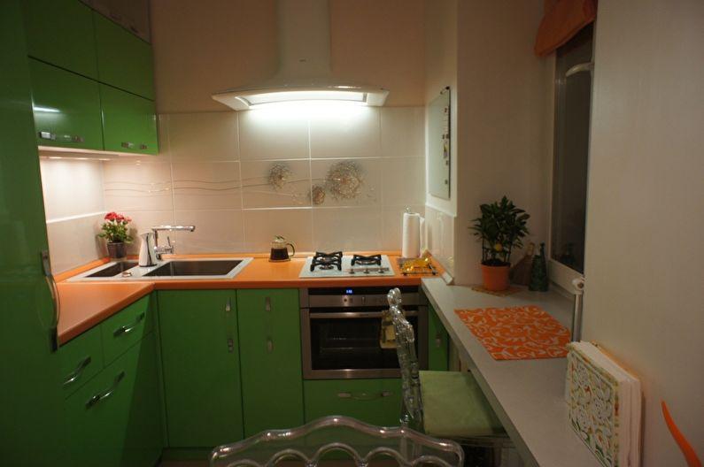 Зеленые дверки кухонного гарнитура