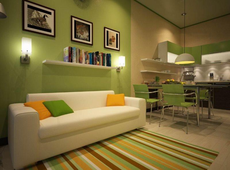 Белый диван в кухне площадью в 14 кв метров