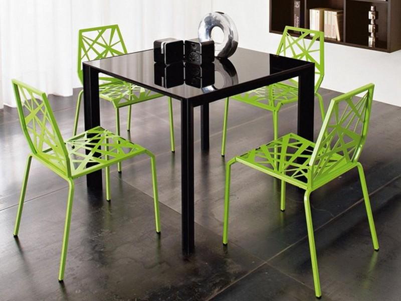Обеденная группа в современном стиле с зелеными стульями