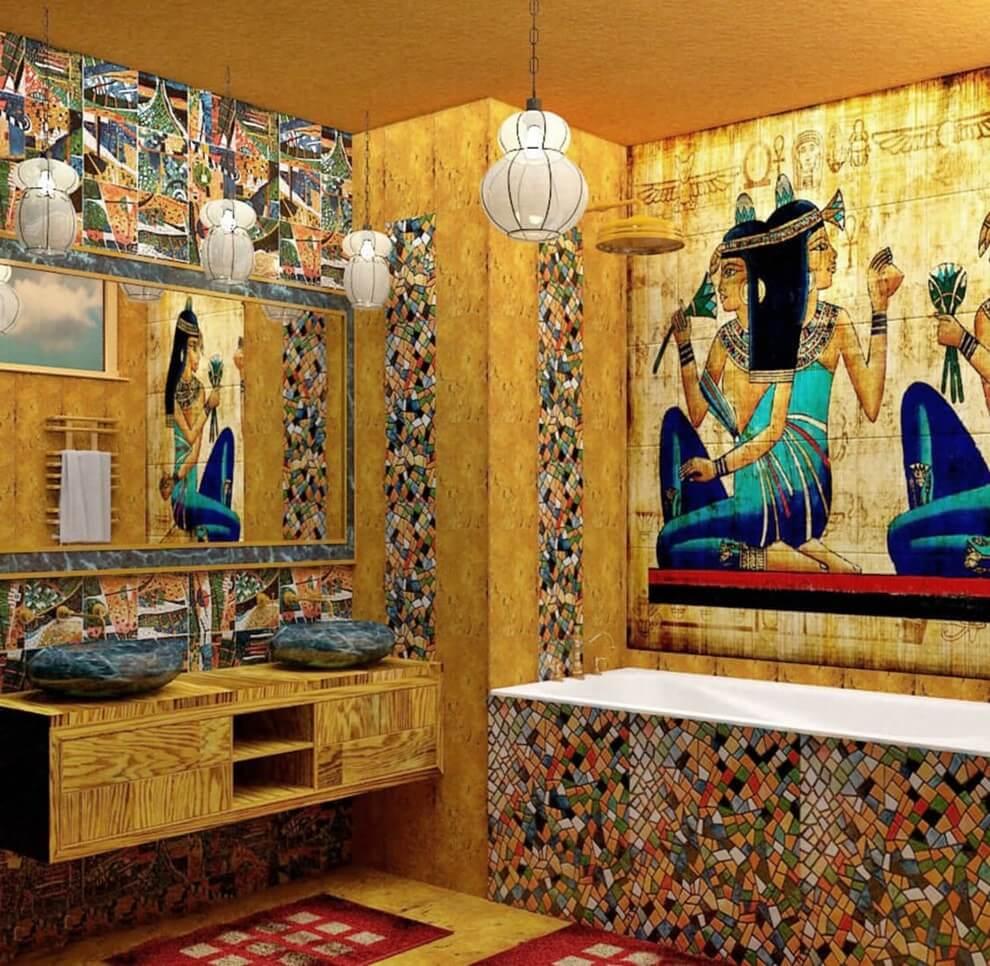 Декорирование ванной комнаты в египетском стиле