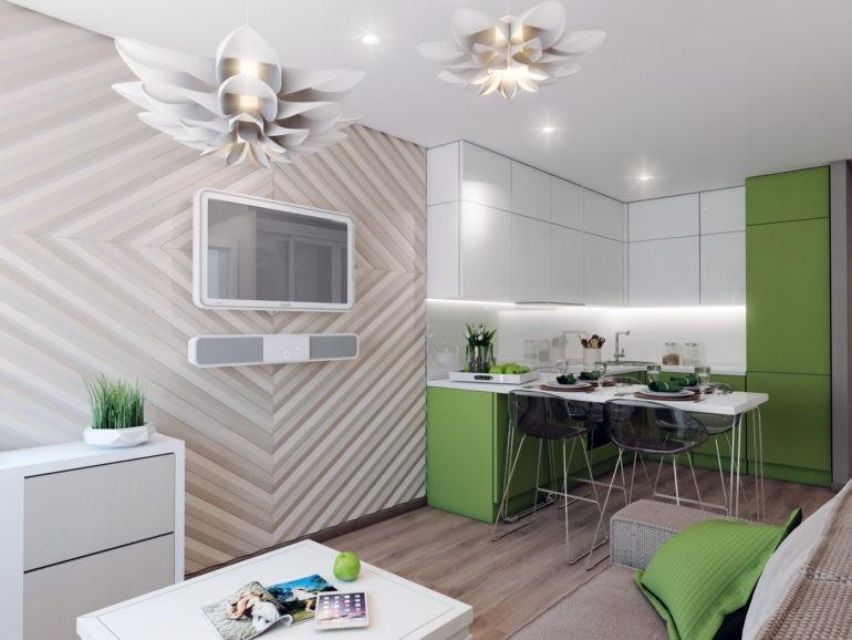 Дизайн кухни-гостиной в 17 квадратов с барной стойкой