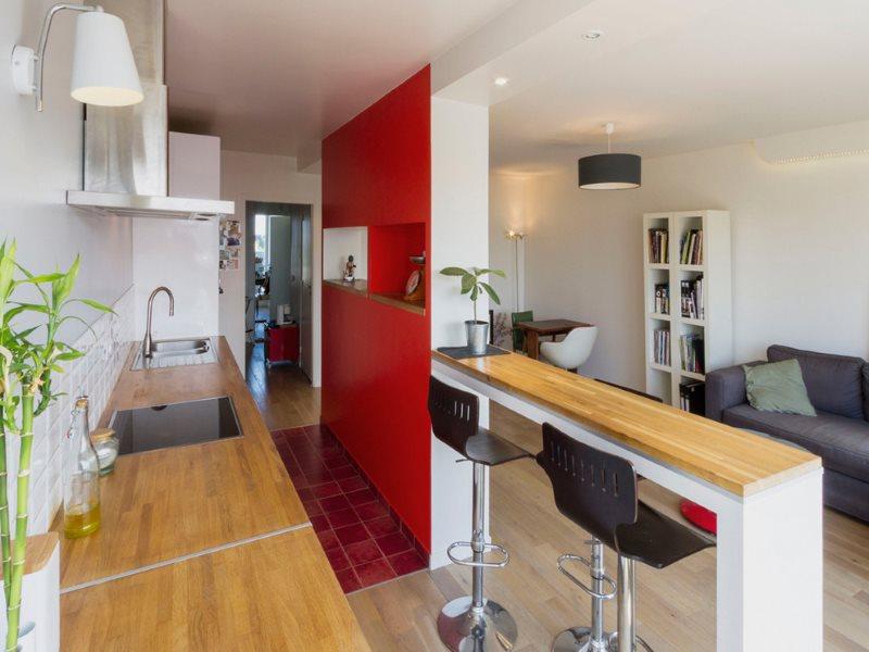 Зонирование барной стойкой кухни-гостиной площадью в 25 квадратов