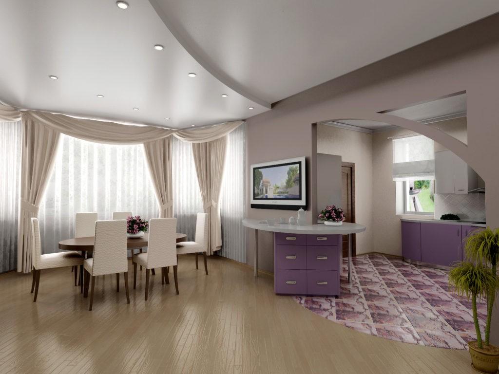 Выделение обеденной зоны кухни с помощью гипсокартоного потолка