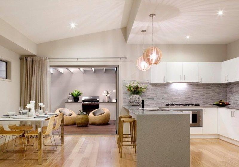Зонирование потолком кухни-гостиной площадью 25 кв метров