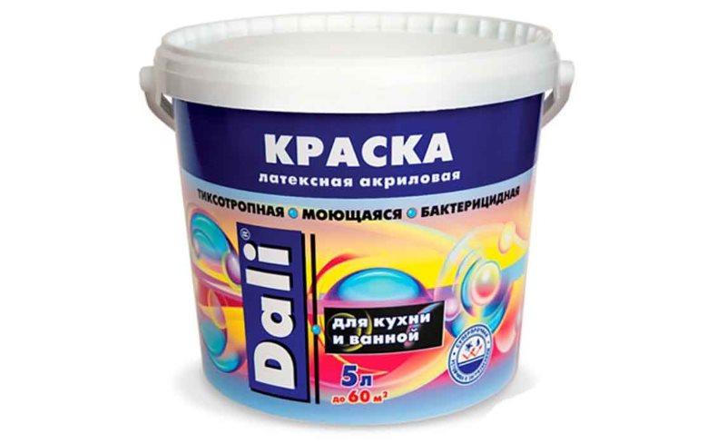 Пятилитровая банк с акриловой краской для стен ванной и кухни