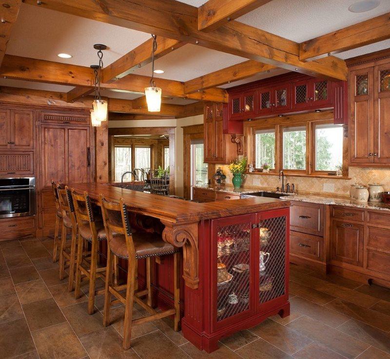 Интерьер кухни частного дома в стиле американского кантри