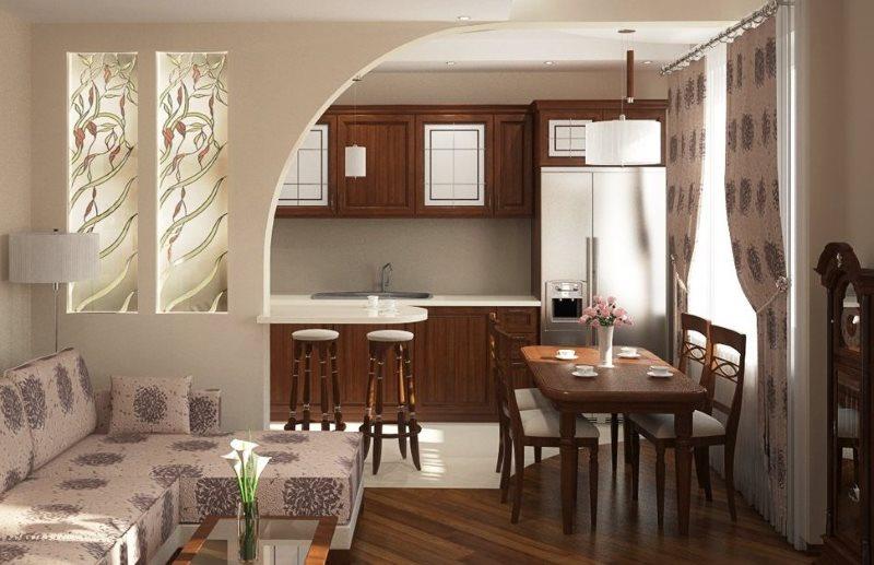 Дизайн кухни-гостиной площадью 19 кв метров с аркой