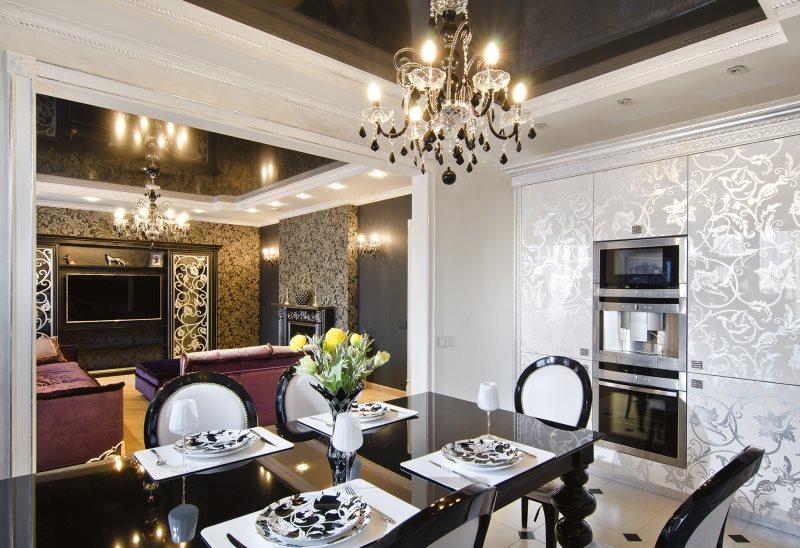 Черный потолок в кухне-гостиной стиля арт-деко
