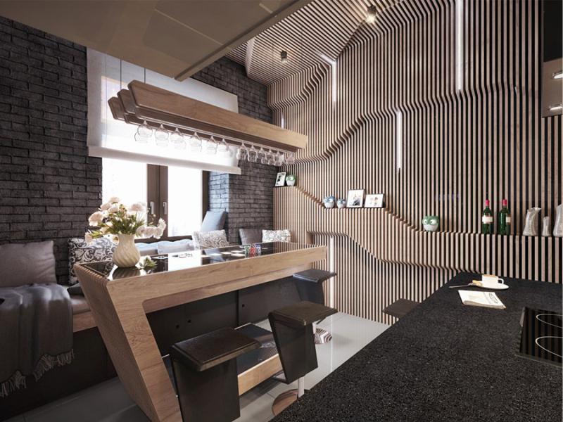 Барная стойка в кухне-гостиной авторского дизайна