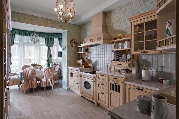 Оби в интерьере кухни деревенского стиля