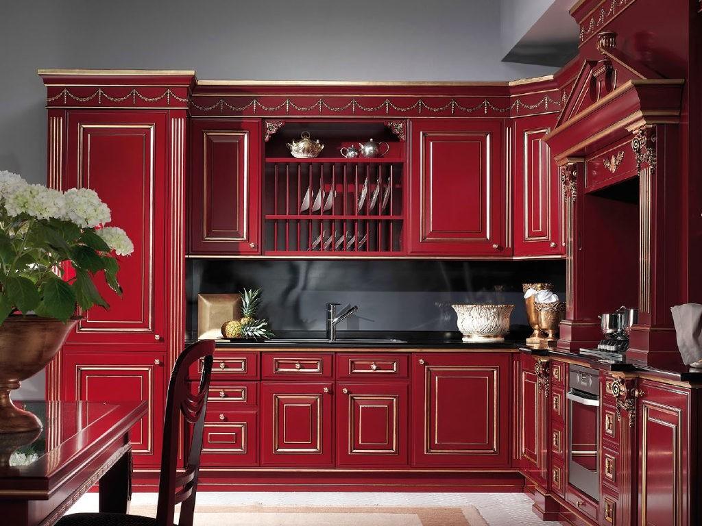 Бардовая кухня в классическом стиле