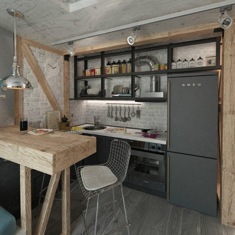 Деревянная барная стойка в маленькой кухне стиля лофт