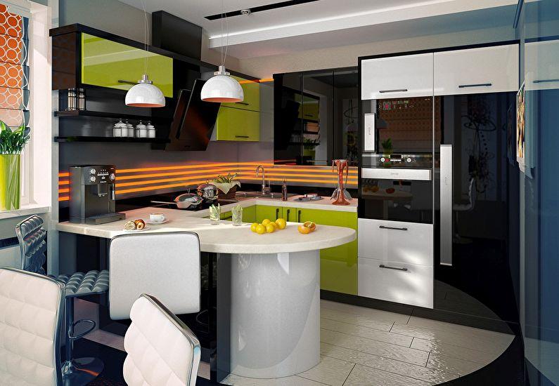 Компактная рабочая зона кухни-гостиной в стиле модерн