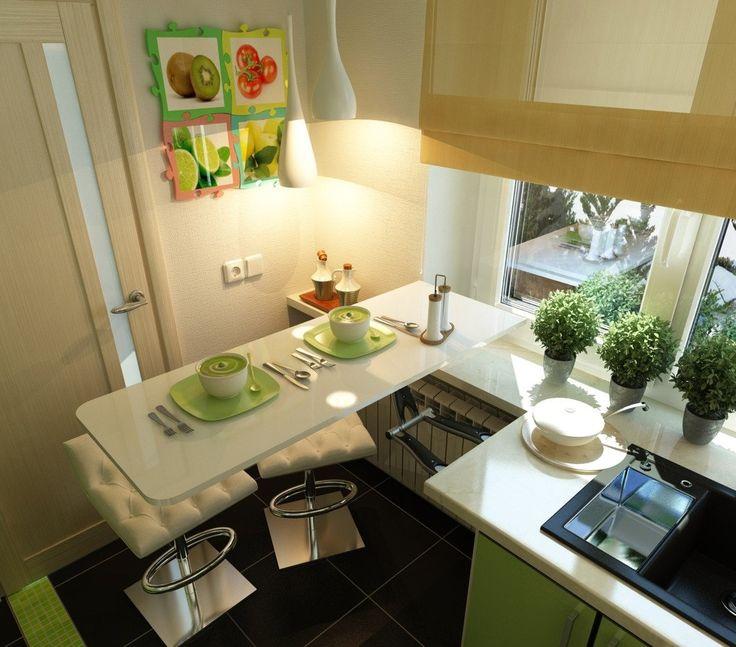 Барная стойка вместо обеденного стола в кухне размерами 2 на 2 метра