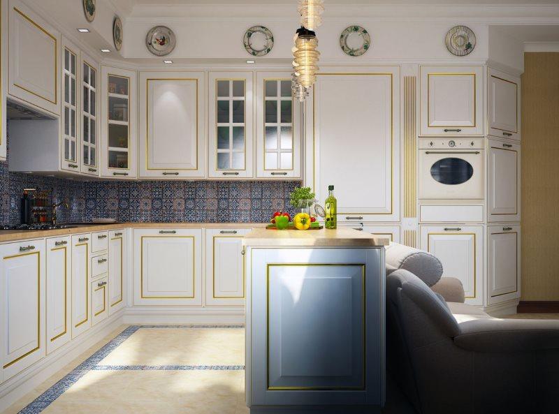 Дизайн английской кухне в бело-золотой палитре