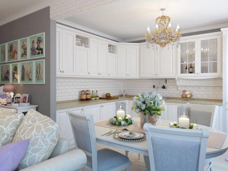 Белая мебель в рабочей зоне кухни-гостиной в стиле прованс