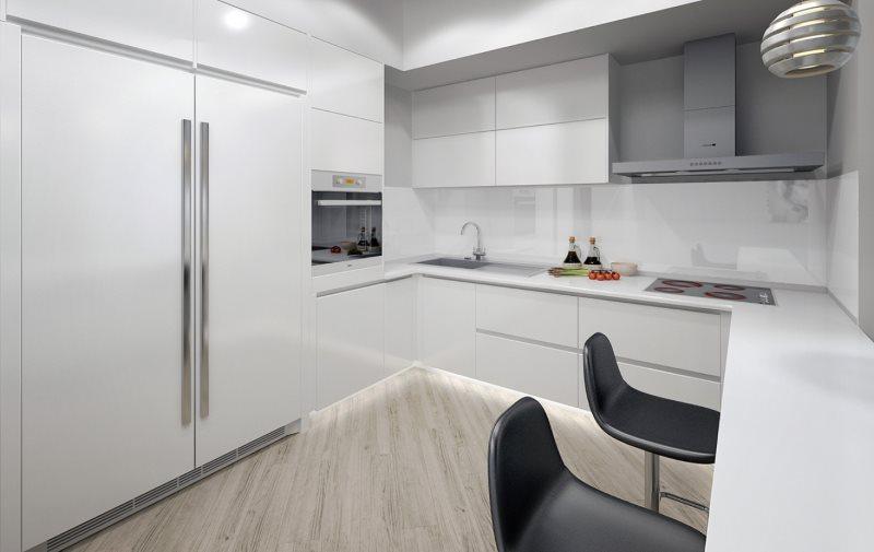 Интерьер компактной кухни с белой техникой