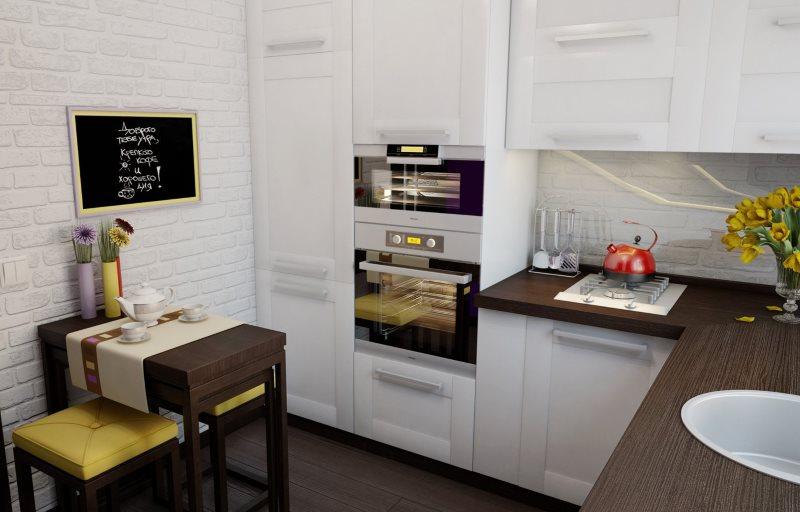 Дизайн угловой кухни в хрущевке с белой мебелью