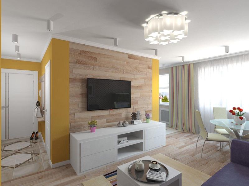 Белый потолок кухни-гостиной в панельной хрущевке