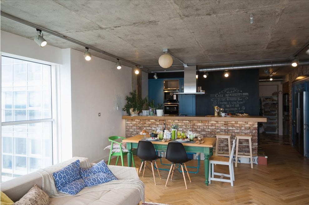 Бетонный потолок в дизайне кухни