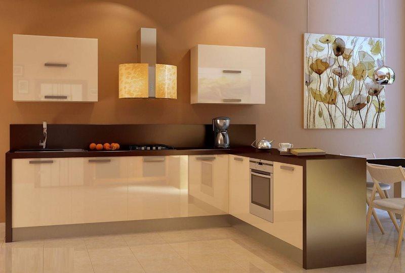 Бежевый гарнитур с полуостровом для кухни-столовой