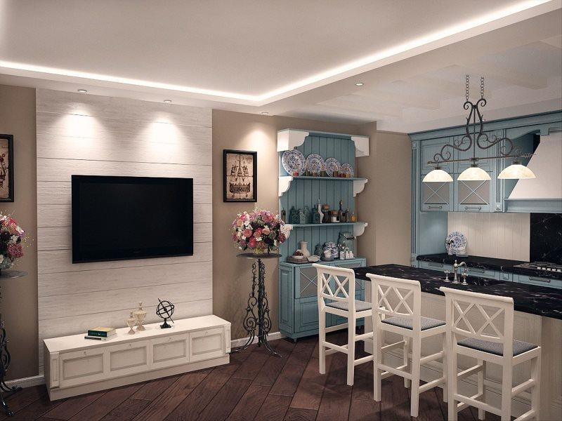 Оштукатуренные стены в кухне-гостиной деревенского стиля