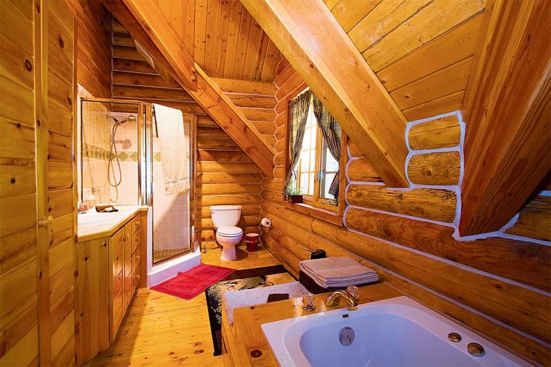 Бревенчатые стены ванной комнаты в загородном доме