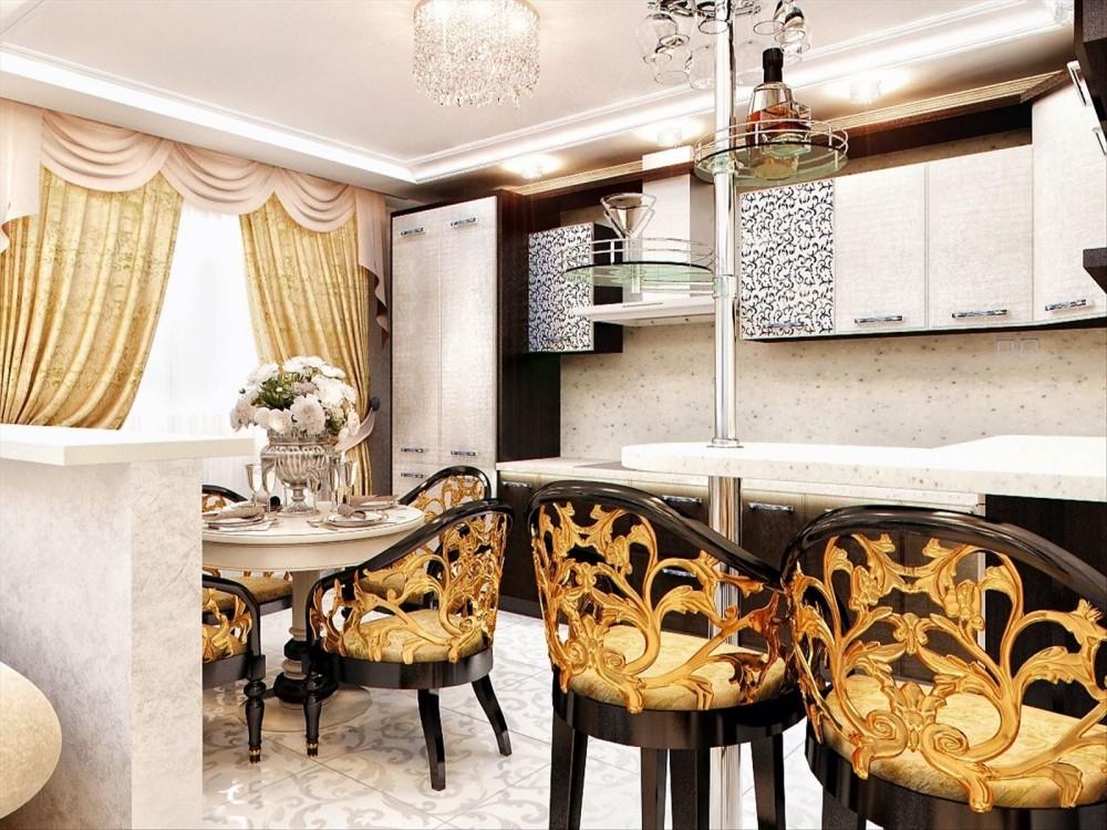 Позолоченные спинки стульев в кухне стиля арт-деко