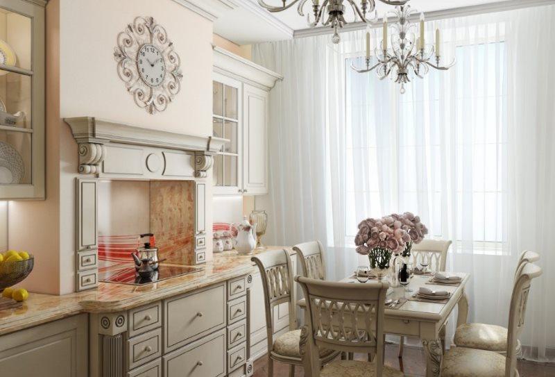 Портальная вытяжка на кухне в стиле неоклассики
