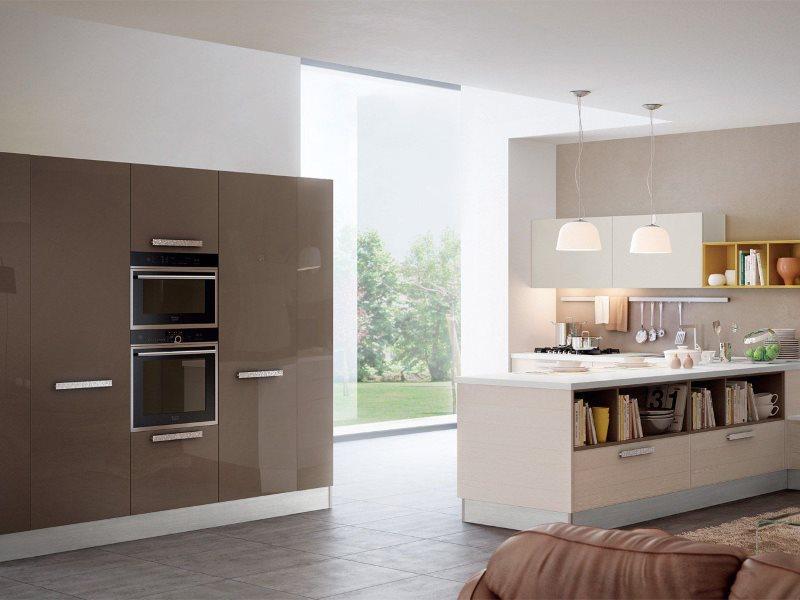 Дизайн просторной кухни в шоколадных тонах