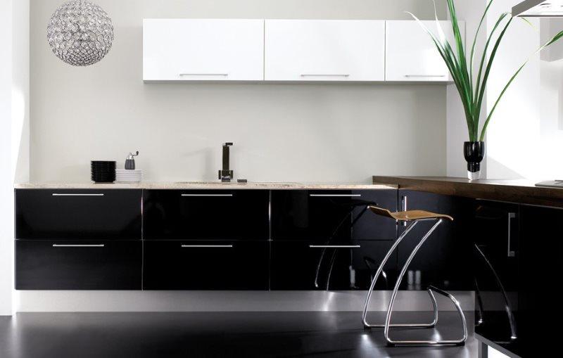 Черно-белый гарнитур в стиле минимализма