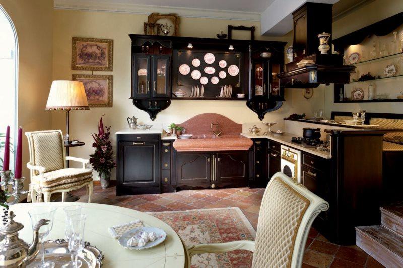 Декор английской кухни с угловым гарнитуром