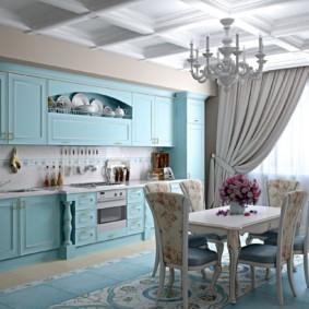 Деревянная мебель в кухне стиля прованс