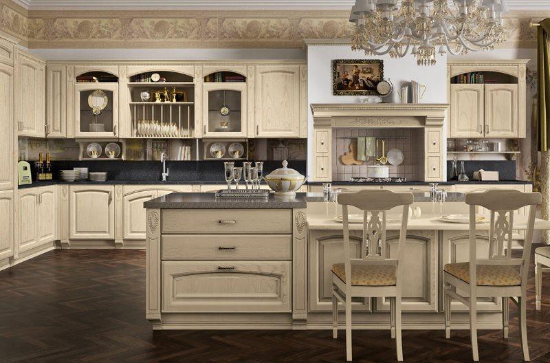 Дизайн кухни с островом в классическом стиле