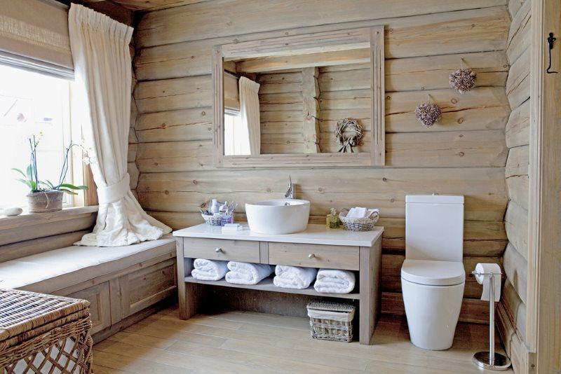 Накладной умывальник на деревянной тумбе