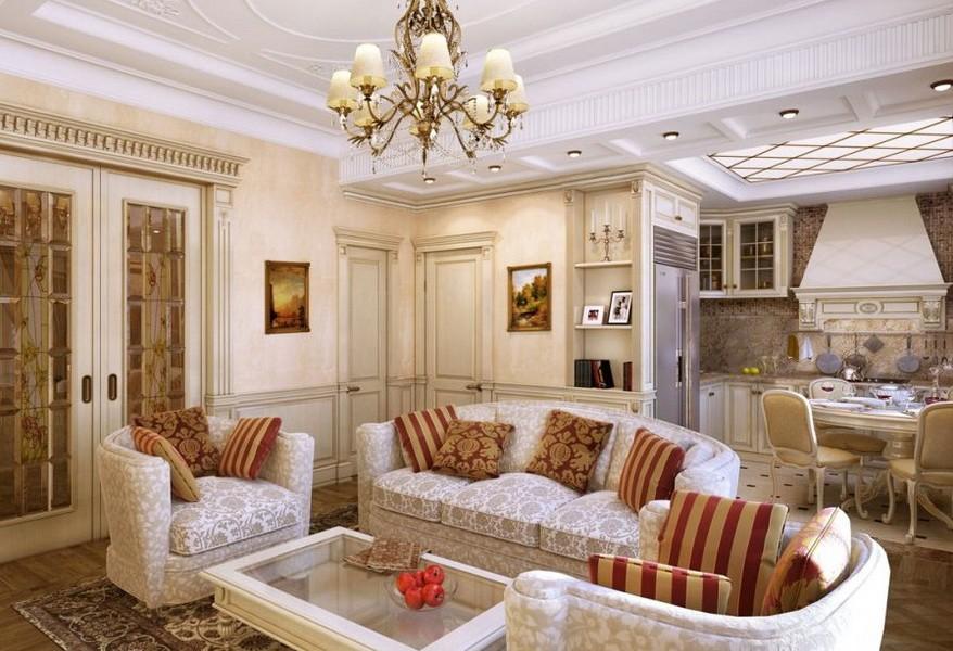 Зона отдыха с диваном в кухне-гостиной классического стиля