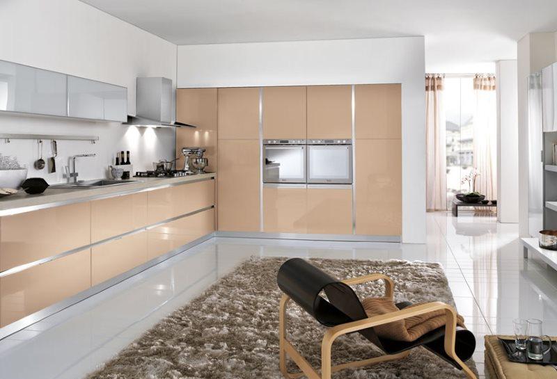 Дизайн угловой кухни в стиле минимализма