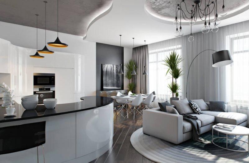 Барная стойка с черной столешницей в кухне стиля хай-тек