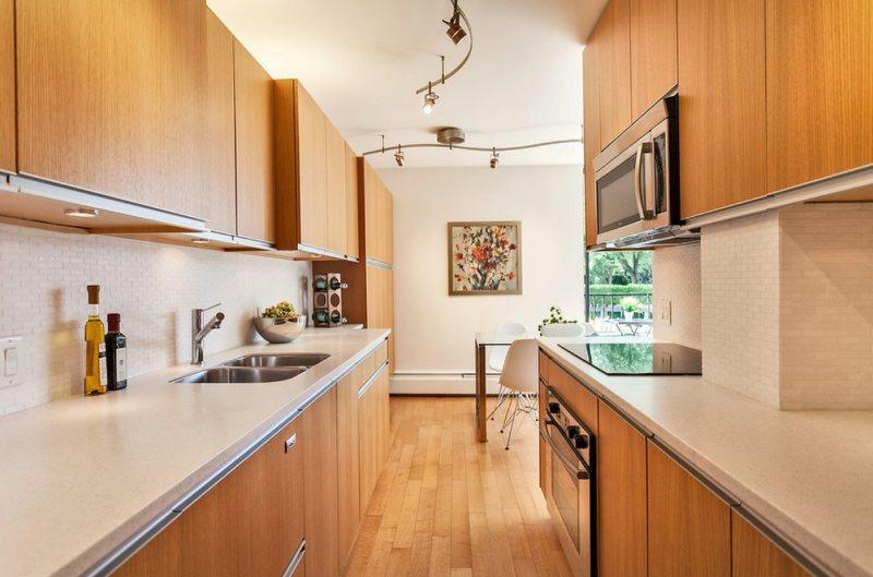Дизайн узкой кухни с двухрядной планировкой
