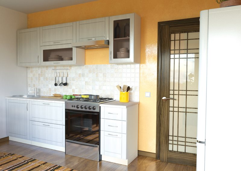 Газовая плита в линейном кухонном гарнитуре