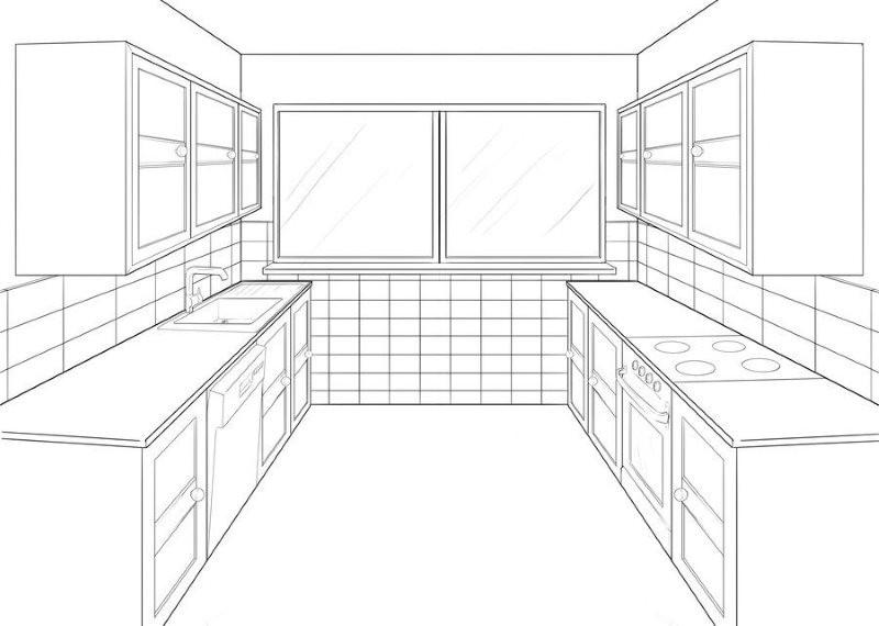 Эскиз квадратной кухни двухрядной планировки